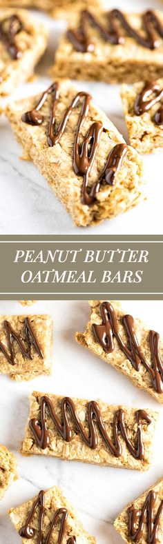 Easy peanut butter oatmeal bars with a dark chocolate drizzle | girlgonegourmet.com