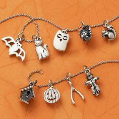 Share fall fun with charms including our new Birdhouse, Squirrel, and Turkey designs. <the turkey and scarecrow and squirrel >