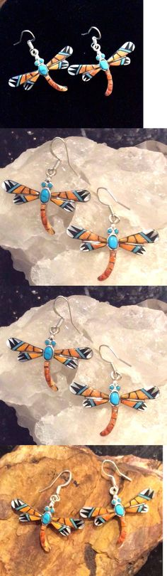 Earrings 98497: Native American Sterling Silver Turquoise, Spiny Oyster Inlay Dragonfly Earrings -> BUY IT NOW ONLY: $59 on eBay!