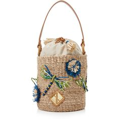 Aranaz Dragonfly Mini Bucket Bag ($240) ❤ liked on Polyvore featuring bags, handbags, shoulder bags, multi, mini shoulder bag, raffia purse, mini handbags, white purse and raffia handbags