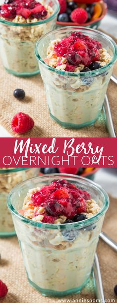 These creamy Mixed Berry Overnight Oats are super easy to make and packed with so much flavour! The perfect way to jazz up your oatmeal! Healthy Breakfast Muffins, Breakfast On The Go, Eat Breakfast, Brunch Recipes, Breakfast Recipes, Breakfast Ideas, Brunch Food, Oats Recipes, Whole Food Recipes
