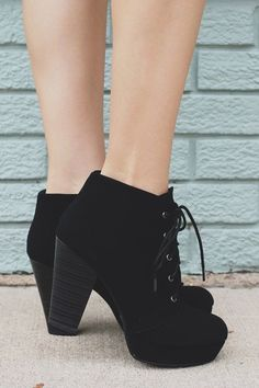 Faux Suede Laceup Wooden Heel Platform Booties Agenda-H – UOIOnline.com: Women's Clothing Boutique