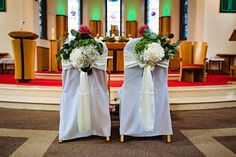 Floral arrangements for the back of the bride and groom chairs at a church wedding. Such an understated way to add some colour to the ceremony Wedding Venue Decorations, Wedding Venues, Table Decorations, Irish Wedding, Church Wedding, Wedding Chairs, Room Chairs, Floral Arrangements, Wedding Flowers