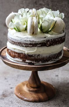 twiggstudios: buckwheat honey cake with rose mascapone cream frosting and italian macarons