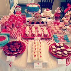 Red and turquoise Raggedy Ann dessert table