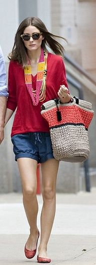 Olivia Palermo: Shorts - Ann Taylor Shirt - Reiss Necklace - Charming Charlie Purse - Furla Shoes - French Sole