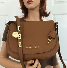 Michael Kors Hamilton Large Saffiano Leather Shoulder Crossbody Brown Bag Purse #MichaelKors #ShoulderBag