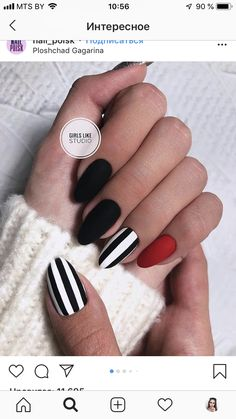 Most Beautiful Black Winter Nails Ideas Cute black and white nails with an accent red nail! Cute black and white nails with an accent red nail! Winter Nails, Summer Nails, Nail Ideas For Winter, How To Do Nails, Fun Nails, Matte Nails, Acrylic Nails, Coffin Nails, Gelish Nails