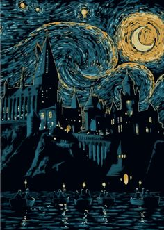 Displate Poster Starry School harry potter hogwarts starry night van gogh moon movies Beauty poster Starry School by Denis Orio Ibañez Harry Potter Tumblr, Harry Potter Kunst, Arte Do Harry Potter, Harry Potter Drawings, Harry Potter Painting, Harry Potter Poster, Harry Potter Style, Harry Potter Hogwarts, Harry Potter Artwork