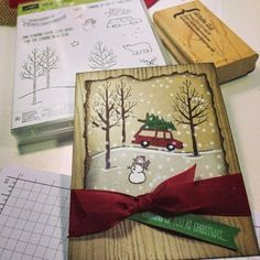 "Look at his positively adorable card I found on the Stampin'Up! Blog today!  Loving this winter scene created with the ""White Christmas"" pho..."