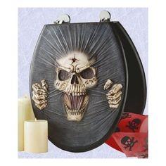toilet seat gothic skull