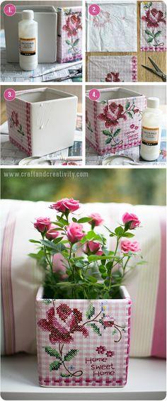 Napkin decoupage on flower pot - by Craft & Creativity