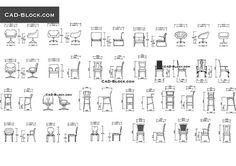 Chairs elevation - free AutoCAD Blocks