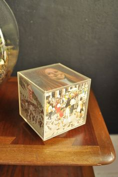 Vintage Acrylic Photo Cube 70s Decor.