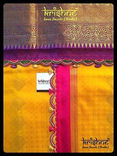 Choose from saree tassel designs, Women Trained, Specialised in Wedding Saree Tassels, Crochet Tassel Patterns & Ready to Stitch Tassel Straps, Krishne - ArtStartup from Women Lace Saree, Pink Saree, Saree Dress, Sari, Saree Tassels Designs, Saree Kuchu Designs, Bollywood, Saree Border, Indie