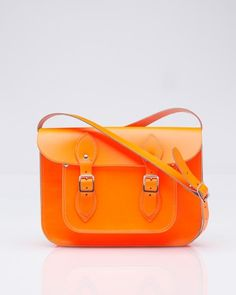 Leather Satchel in dayglo orange. Perfect for my all my purse stuff + my Ipad.