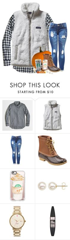 """First day of fall!! "" by kat-attack ❤ liked on Polyvore featuring J.Crew, Patagonia, L.L.Bean, Casetify, Honora, Kate Spade and Maybelline"