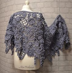 "Mantón. La cubierta. Estolas, bufanda, chal, ganchillo irlandés. Flores. Longitud 67""(170 cm) boho style, Cachemira, lana, merino,"