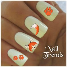 Fox Nail Decal. 20 Vinyl Stickers Nail Art by NailTrends on Etsy, $2.65