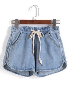 Drawstring With Pockets Denim Shorts