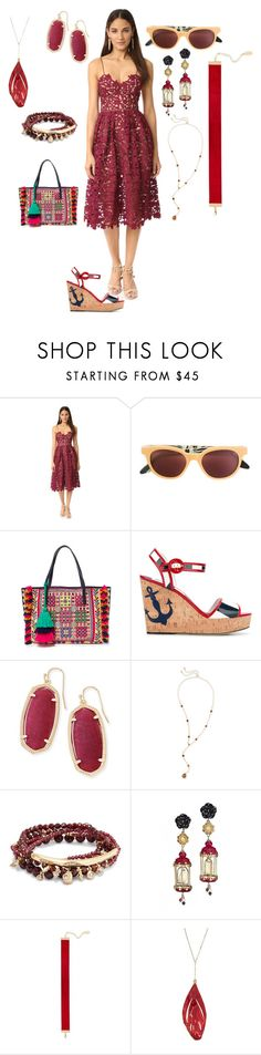 """summer outfits"" by emmamegan-5678 ❤ liked on Polyvore featuring self-portrait, RetroSuperFuture, Figue, Dolce&Gabbana, Kendra Scott, Of Rare Origin, Chanael K and modern"