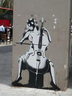 always love banksy :) Tel Aviv - #Banksy #cello