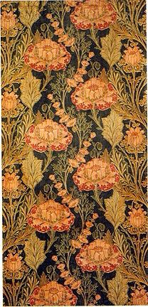 "Floral textile by Silver Studio, 1897. Printed velveteen, 165.25 x 81 cm (65 x 31 3/4"")"