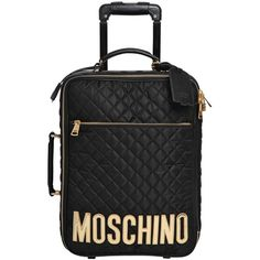 Moschino Women Medium Quilted Nylon Trolley (14.161.770 IDR) ❤ liked on Polyvore featuring bags and luggage