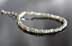 Genuine labradorite bracelet sterling silver by BohemianPleasures