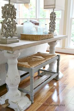 Savvy Southern Style: New Lamps for the chunky chippy sofa table.