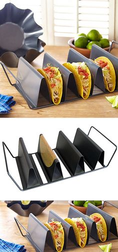 Metallic taco pan! // Bake and serve! Shapes and crisps up your tortilla taco shells to perfection #product_design #kitchen #crazycoolthings