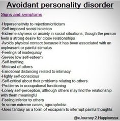 diagnosis and treatment of avoidant personality At promises, we can help people diagnosed with avoidant personality disorder  start  personality disorder may exhibit some or many of the following symptoms.
