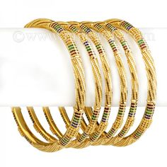 Minakari 22k Gold Bangles | #22K #gold #bangles with #minakari (enamel paint), available in set of six including (2 wide bangles and 4 thin bangles). https://www.rajjewels.com/22k-gold-bangles-zevg-b1541.html#sthash.iPt05iyM.dpuf