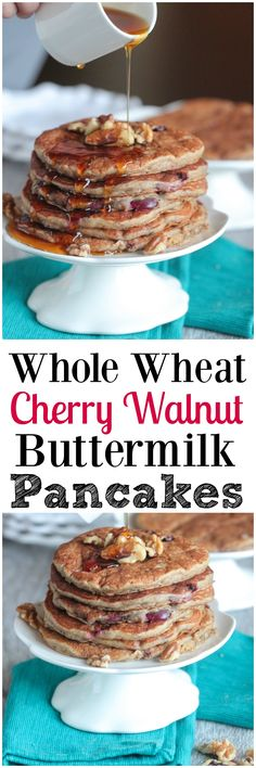 Whole Wheat Cherry Walnut Buttermilk Pancakes, healthy and restaurant quality! #recipe #breakfast