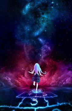 "A girl plays hopscotch in the midst of a nebula. ""Over the Galaxy"" by Aurora Lion"