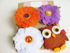 Girls Fall Flower & Owl Hair Clips by Charlie Cocos