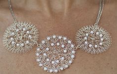 Bridal necklace crochet wire handmade Flowers. by KvinTal on Etsy, $49.00