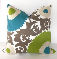 Blue, green, and brown pillow