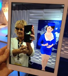 Me viewed with an iPad with a virtual 4D interactive flight attendant at DAQRI's booth! Click to see DAQRI's site!