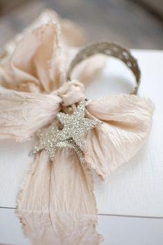 blush ribbon with glitter star wrap