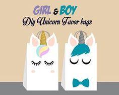 Unicorn DIY Favor Bag Template, Unicorn Party Bags Printable, Unicorn DIY Gift Bag, Unicorn Birthday Printable, Digital Files (You Print)