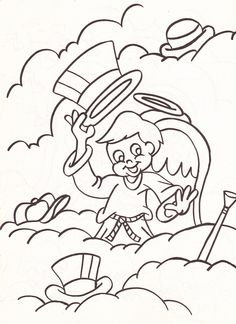 from an Angels coloring book - boy angel with various hats and a cane in the clouds