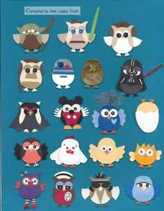 Star Wars, Elvis, Mickey, chickens, birds by Stampin Up Owl Punch. Scrapbook Paper Crafts, Mini Scrapbook Albums, Scrapbook Cards, Scrapbooking, Owl Punch Cards, Kids Cards, Baby Cards, Paper Punch Art, Owl Card