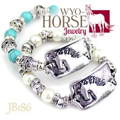 Wyo-Horse Jewelry - Turquoise or Pearl Bead Horse Tag Bracelet