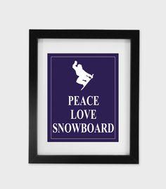 Peace Love Snowboard  Printable Home Decor by PeaceLoveEtsy, $8.95