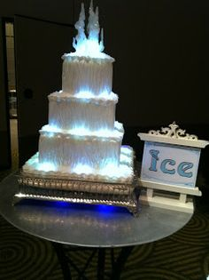 Winter Wedding Cake With Lights And Ice