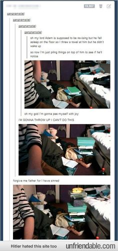 I've actually done this once excpet with a   bunch of ham slices all over her body. Tumblr funny