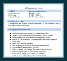 Sample Church Employee Job Descriptions  Job Description And Churches