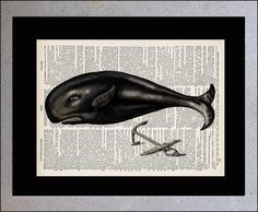 Items similar to Whale Print - Ocean sea life poster - Mixed Media, Dictionary art print, Dictionary print, Whale Book page print Original Artwork on Etsy Great Whale, Life Poster, Whale Art, Dictionary Art, Book Art, Original Artwork, Art Prints, Books, Whales