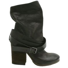 Elisa Nero strap buckle short boot.